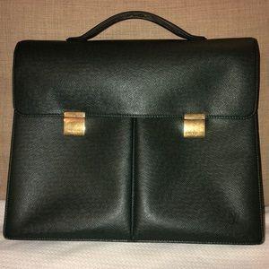 Louis Vuitton Green Serviette Taiga Briefcase